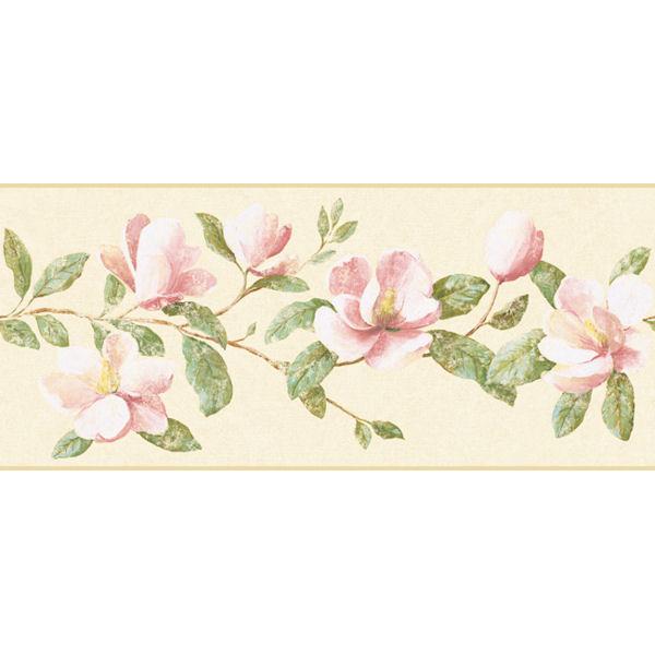 Peach Magnolia Border   Wall Sticker Outlet 600x600
