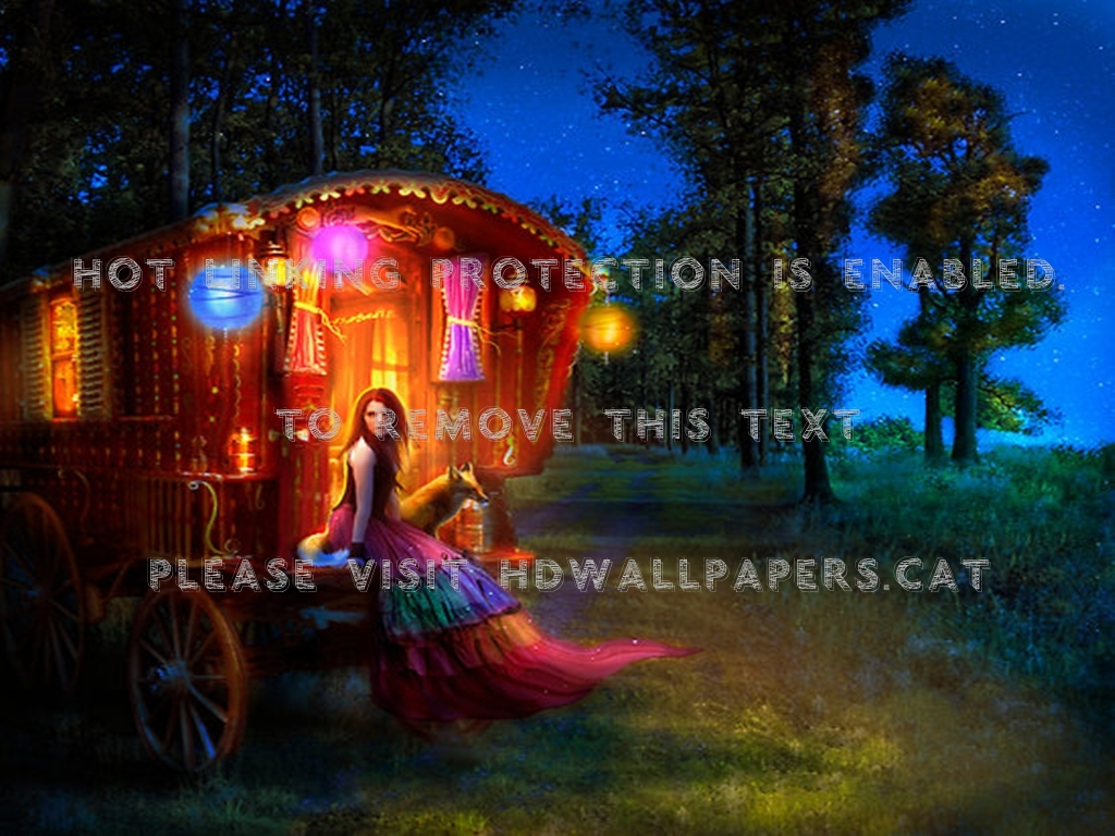 wanderlust fantasy trees lights gypsy wagon 1024x768