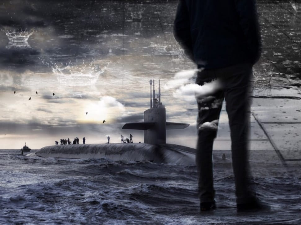mans silhouette and submarine submerged in water image Peakpx 970x727