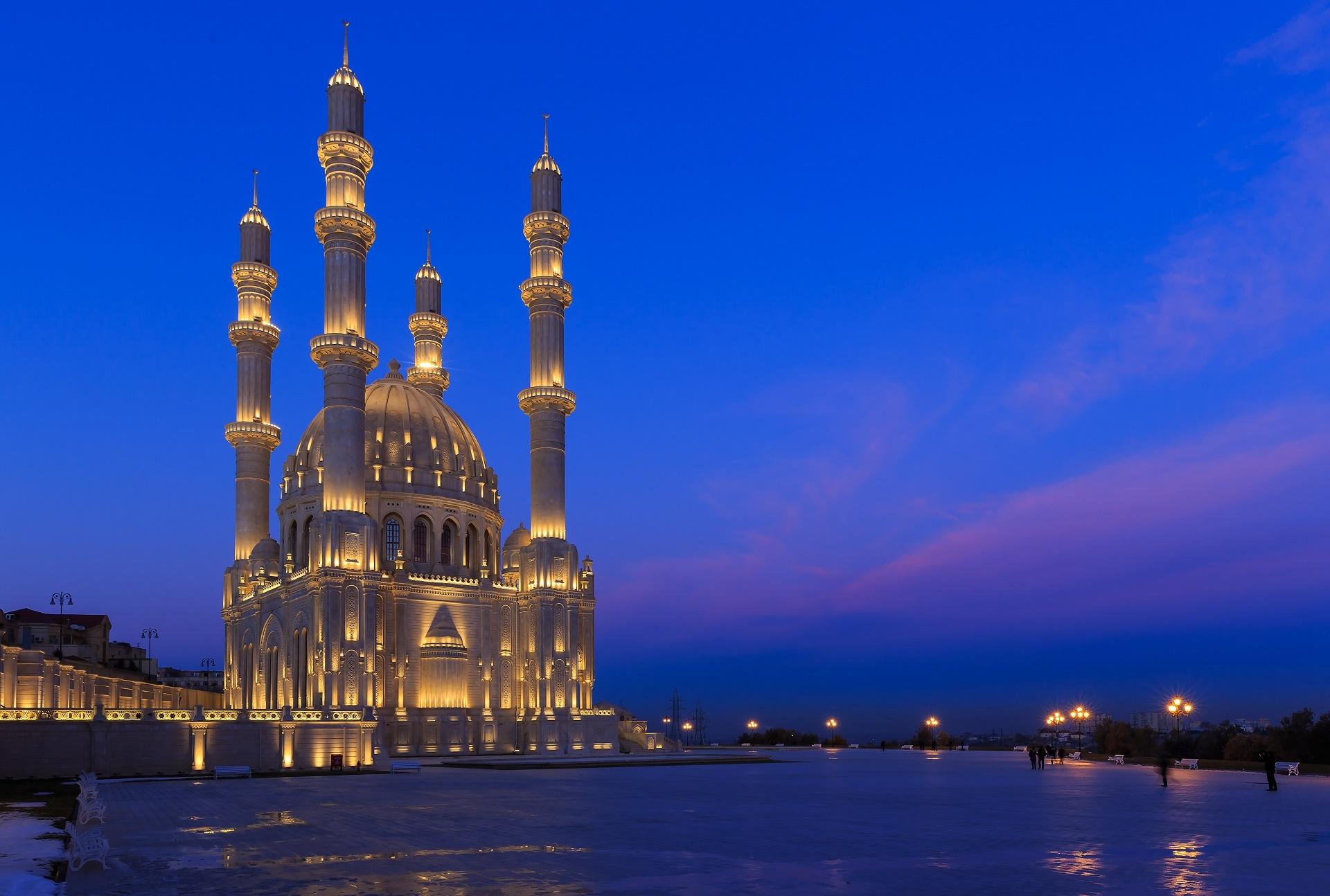 Download 1920x1294 Heydar Mosque Azerbaijan Baku Lights Night 1920x1294
