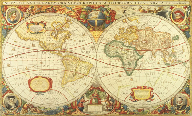 Old World Map Wall Mural by Henricus Hondius circa 1630 640x387