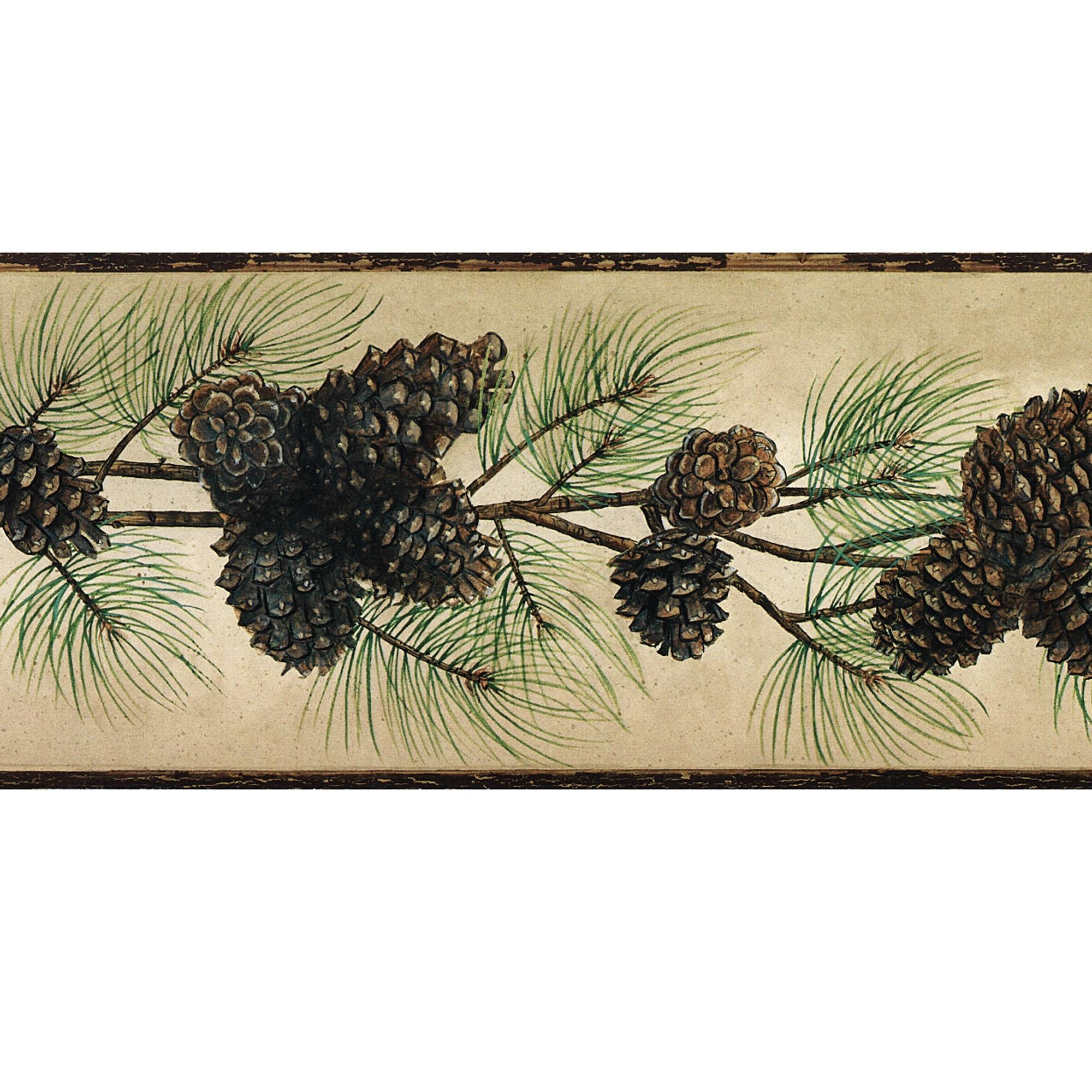 Rustic Pine Cone Wallpaper Border Multi Earth 2000x2000