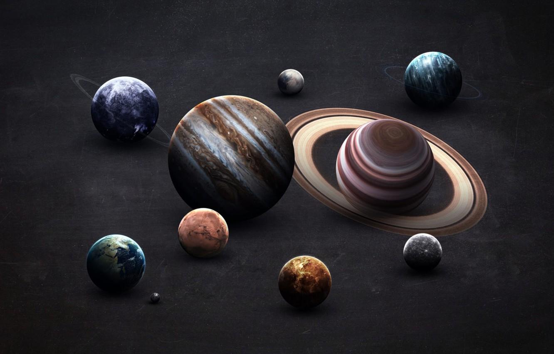 Wallpaper Saturn The moon Earth Planet Moon Mars Jupiter 1332x850