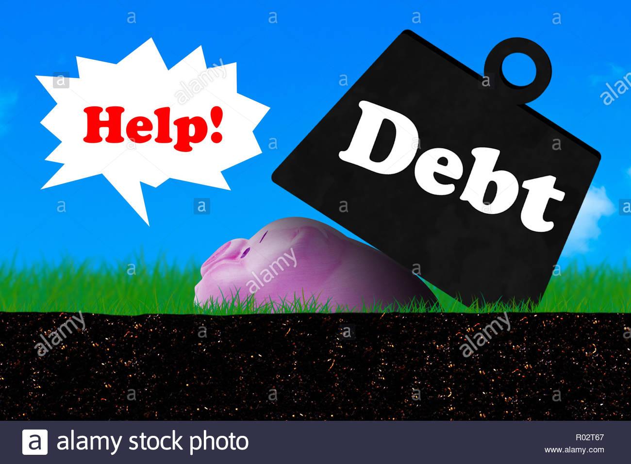 Debt concept financial crisis piggy bank on blue sky background 1300x956