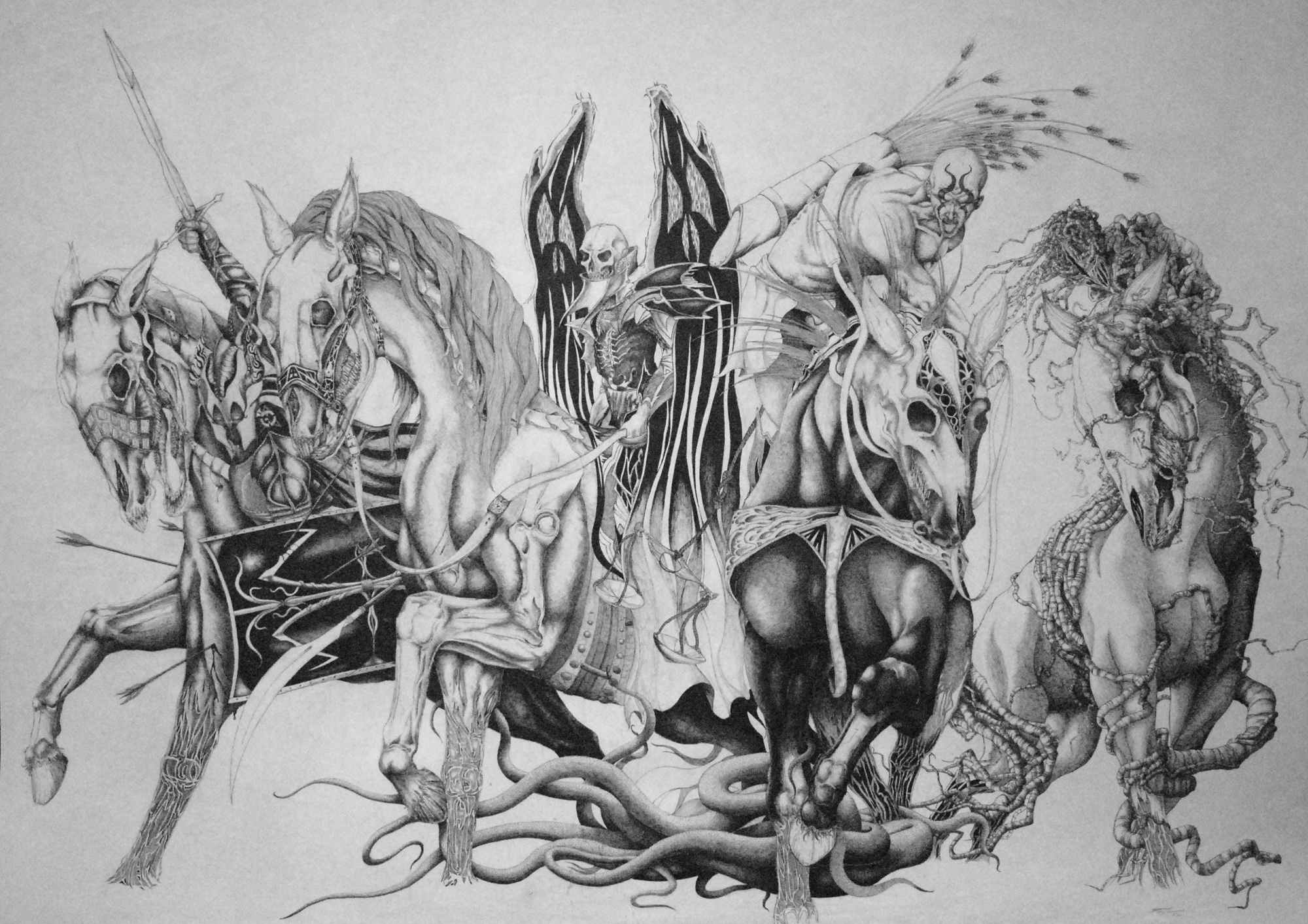 Horsemen of the Apocalypse religion revelations dark horror weapons 2000x1413