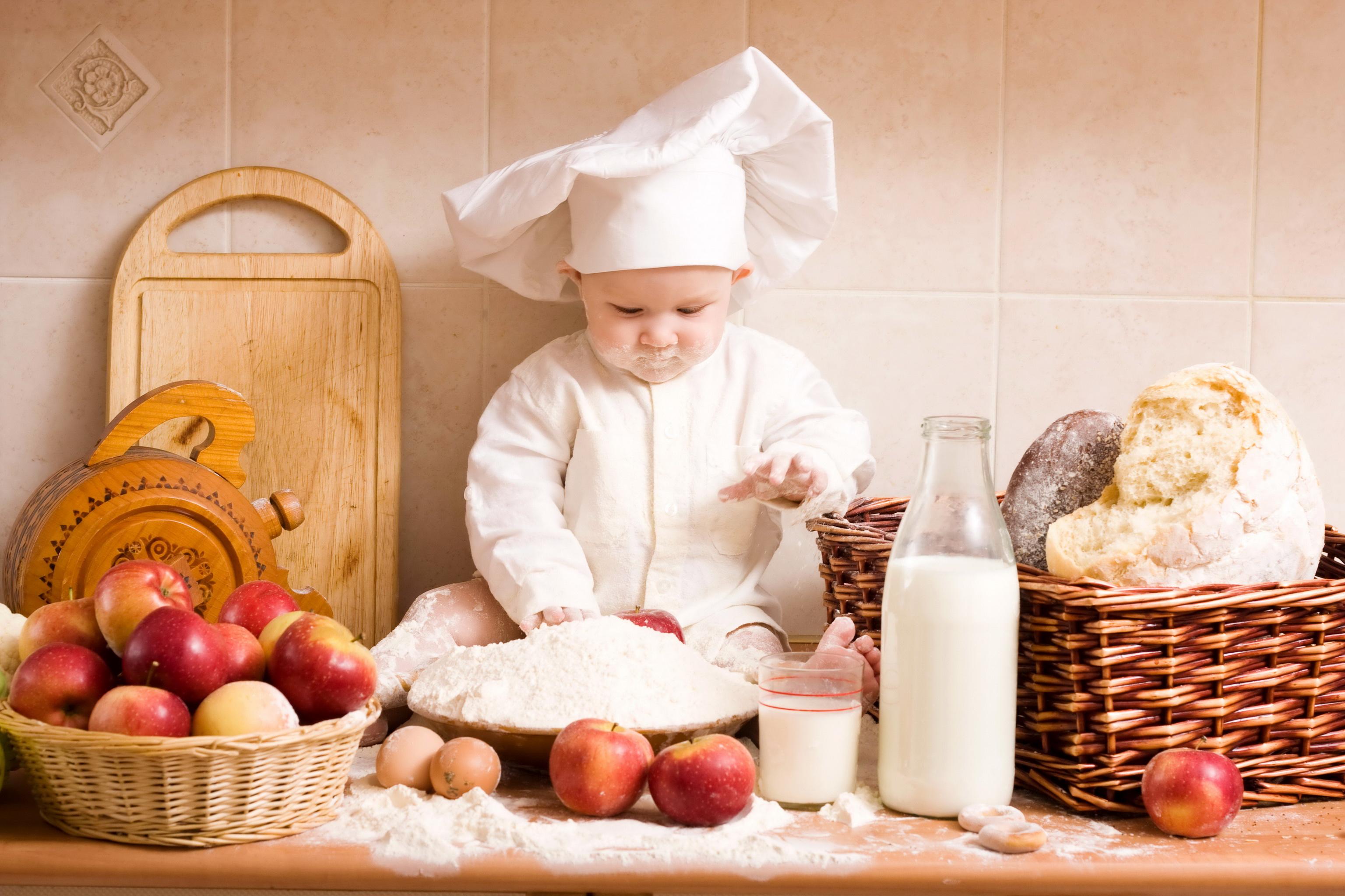 Images Milk Children Apples Wicker basket Cook 3072x2048 3072x2048