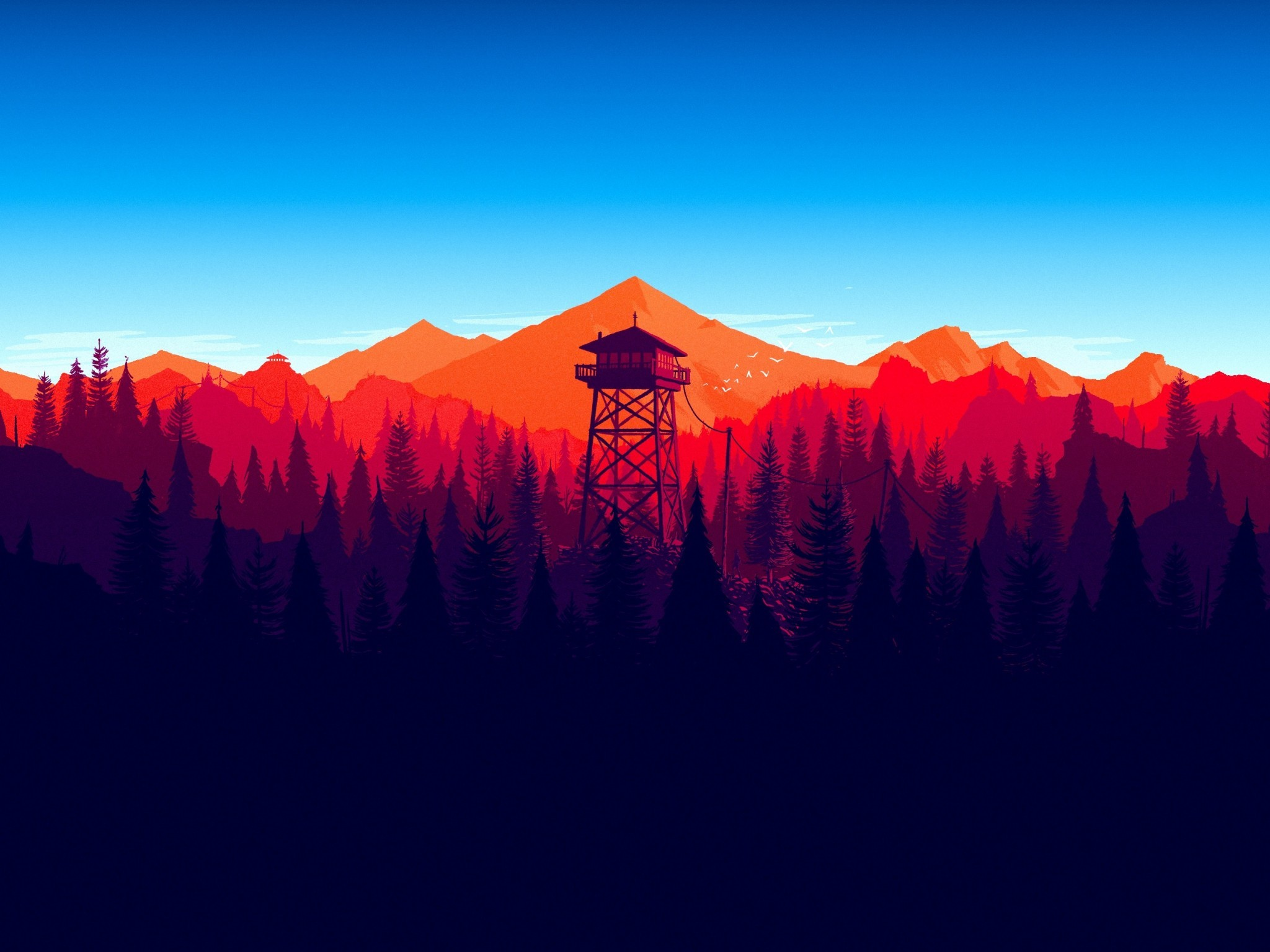 Download 2048x1536 Firewatch Forest Landscape In game 2048x1536