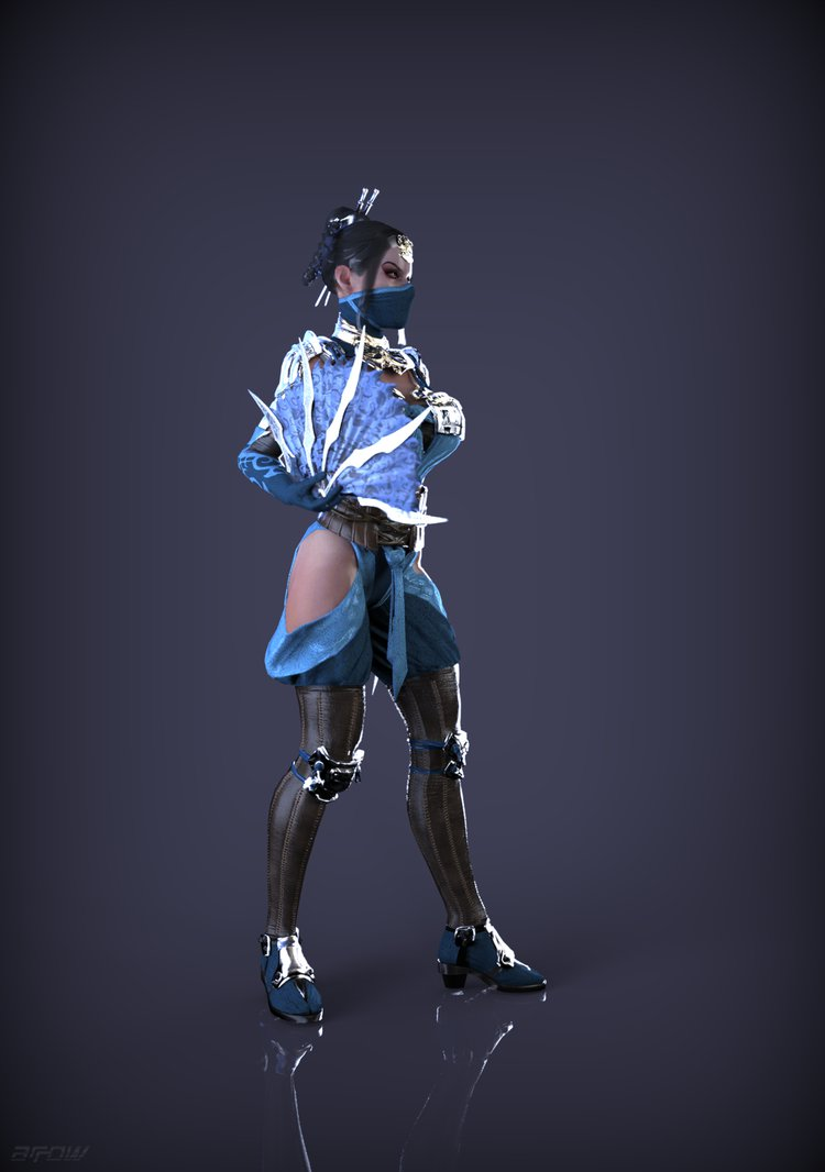 Request Kitana MK X pose render by ArRoW 4 U 750x1066