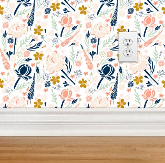 Removable Wallpaper   Desert Floral Design Repositionable Removable 560x554