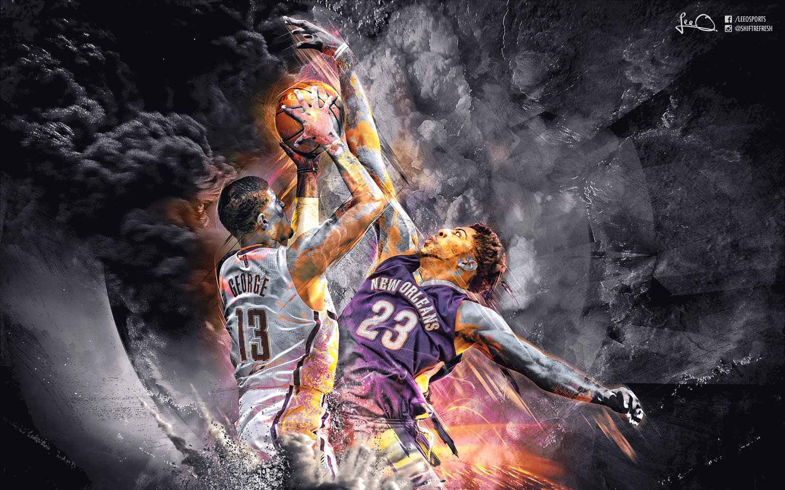 Download Paul George vs Anthony Davis Wallpaper by skythlee 1600x1000
