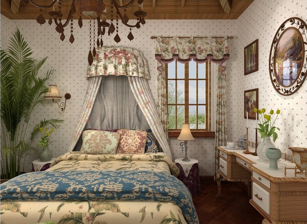 Interior Design Bedroom Wallpaper And Curtains American Country Style  1078x787