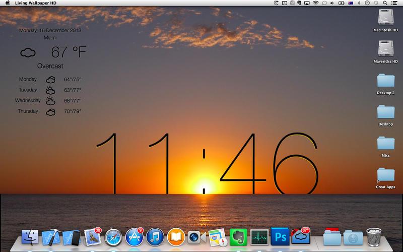 Download Mac App Store Living Wallpaper HD Live desktop UK weather