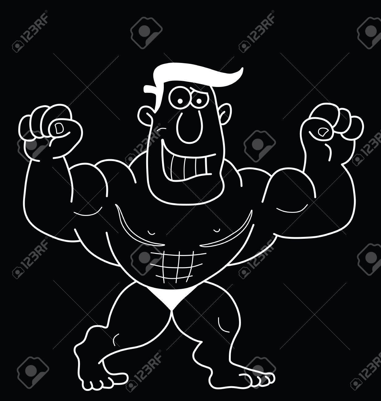 Monochrome Outline Cartoon Strongman Isolated On Black Background 1235x1300
