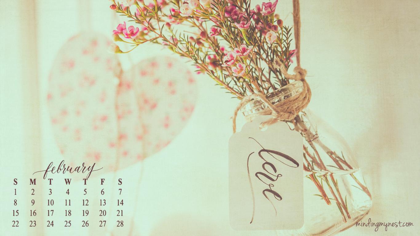 february 2015 desktop calendar 1366x768