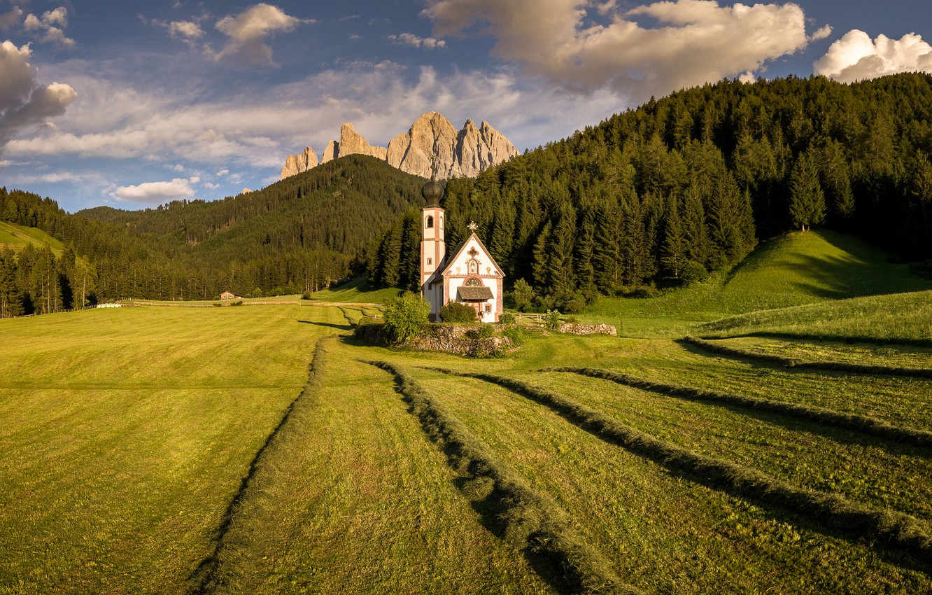 Wallpaper field mountains Italy Church Bolzano images for 1332x850