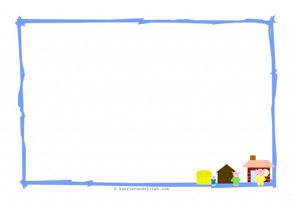 Alphabet Border Landscape Three little pigs border paper 1024x724