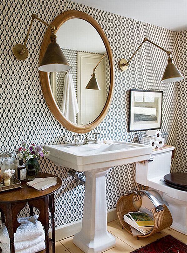 How to add elegance to a bathroom with wallpapers 600x812