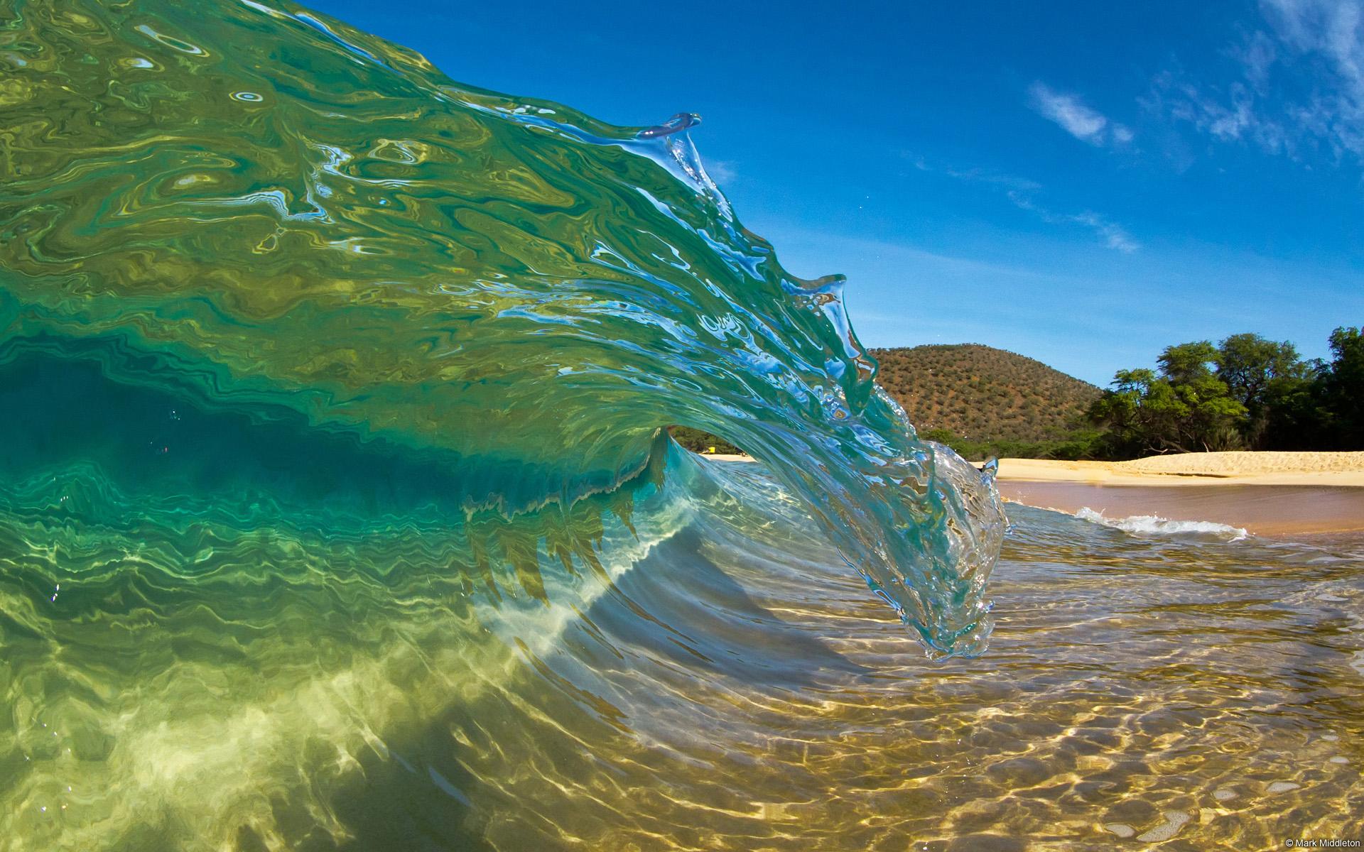 Shorebreak Curl Big Makena Beach Maui Hawaii US Maui Hawaii 1920x1200