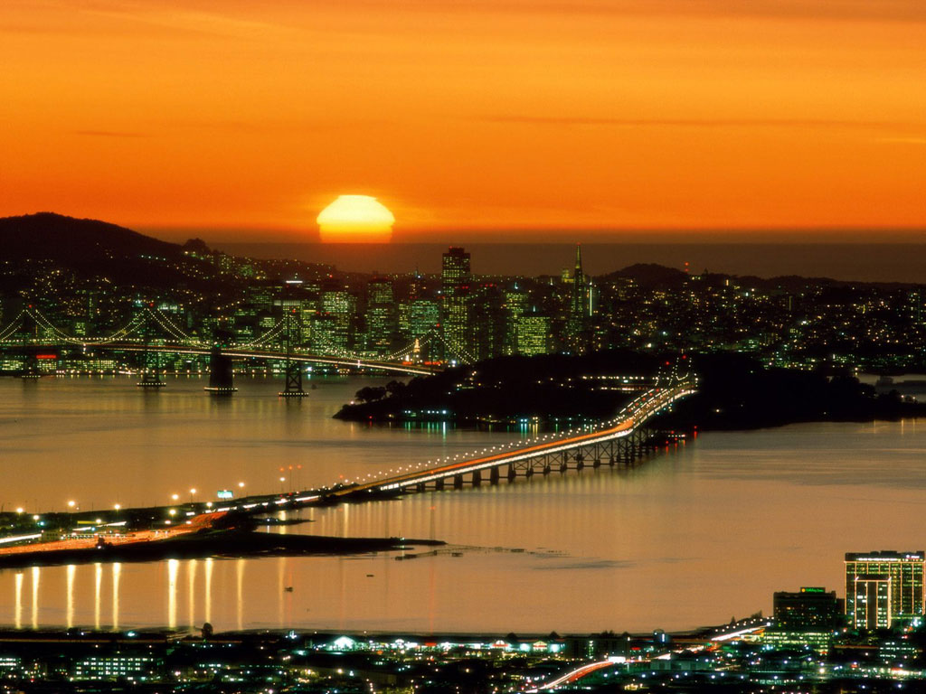 San Francisco Sunset backgrounds Wallpaper High Quality 1024x768