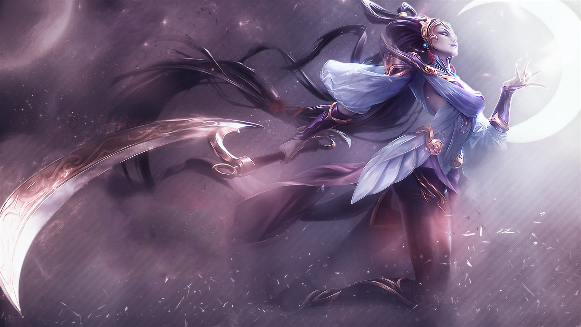 Diana League Of Legends Wallpaper Poses Color Treatment 1920x1080