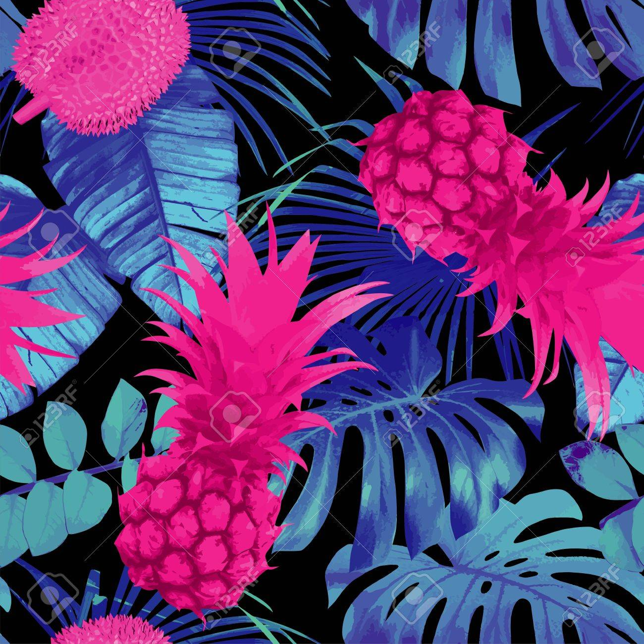 Tropic Nature Fruit Floral Seamless Pattern Summer Exotic 1300x1300