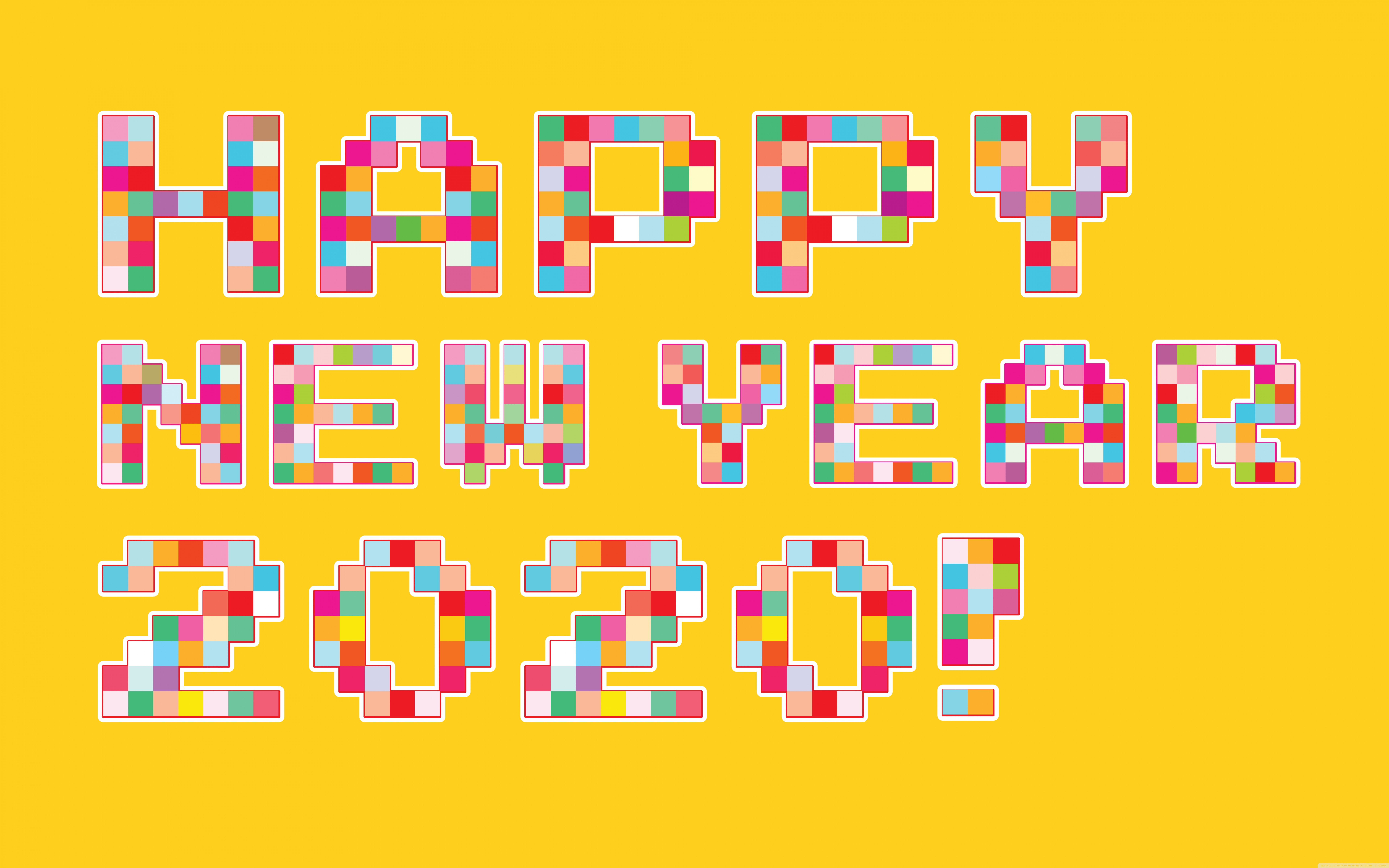 Happy New Year 2020 Pixel Art 4K HD Desktop Wallpaper for 4K 7680x4800