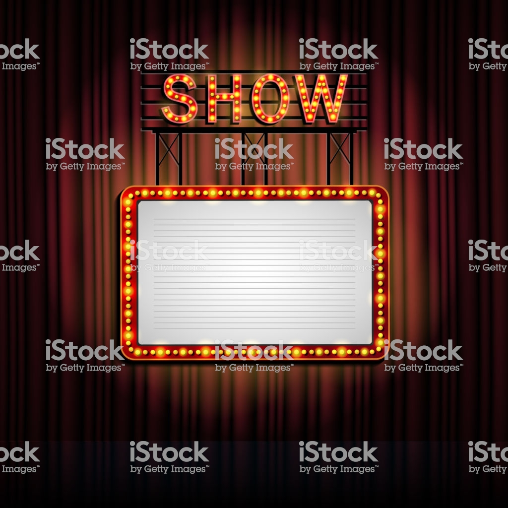 Showtime Retro Sign With Curtain Background Stock Illustration 1024x1024