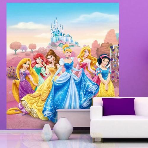 NEW DISNEY PRINCESS CASTLE LARGE WALL MURAL ROOM DECOR WALLPAPER 500x500