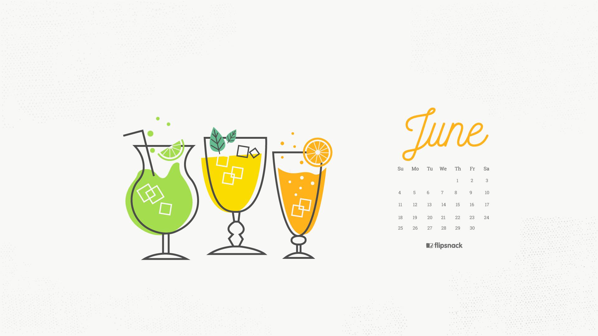 June 2017 calendar wallpaper for desktop background 1920x1080