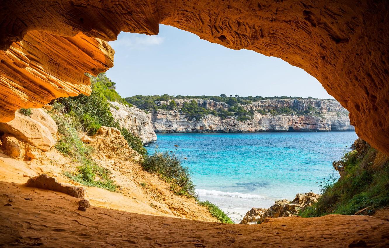 Wallpaper sea shore arch the grotto Mallorca park Mondrago 1332x850