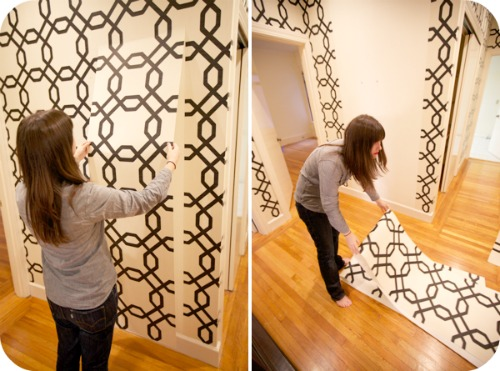 Accenting Walls with Temporary Wallpaper and Fabric   Homescom 500x371