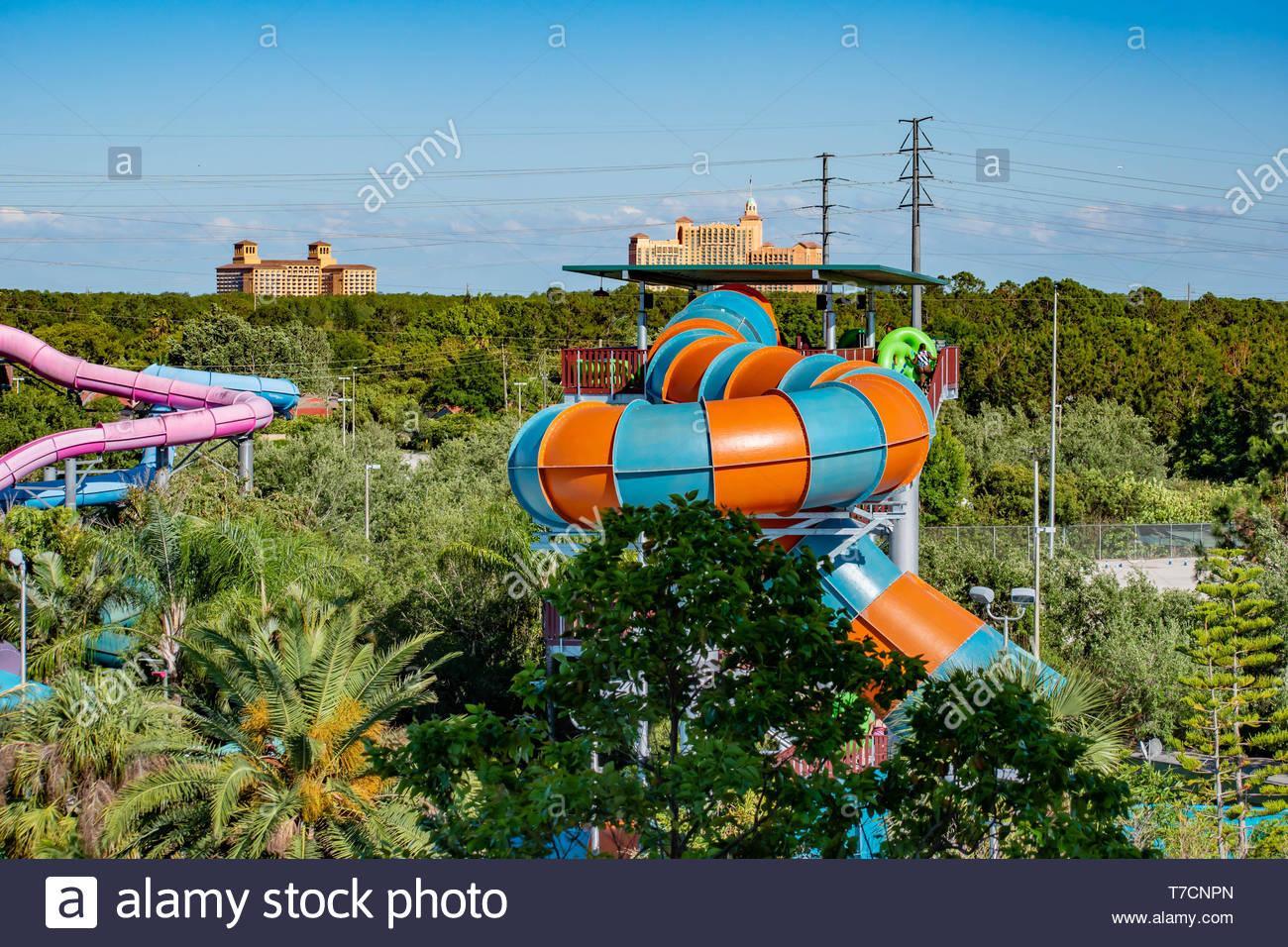 Orlando Florida April 20 2019 Top view of Aquatica water park 1300x956