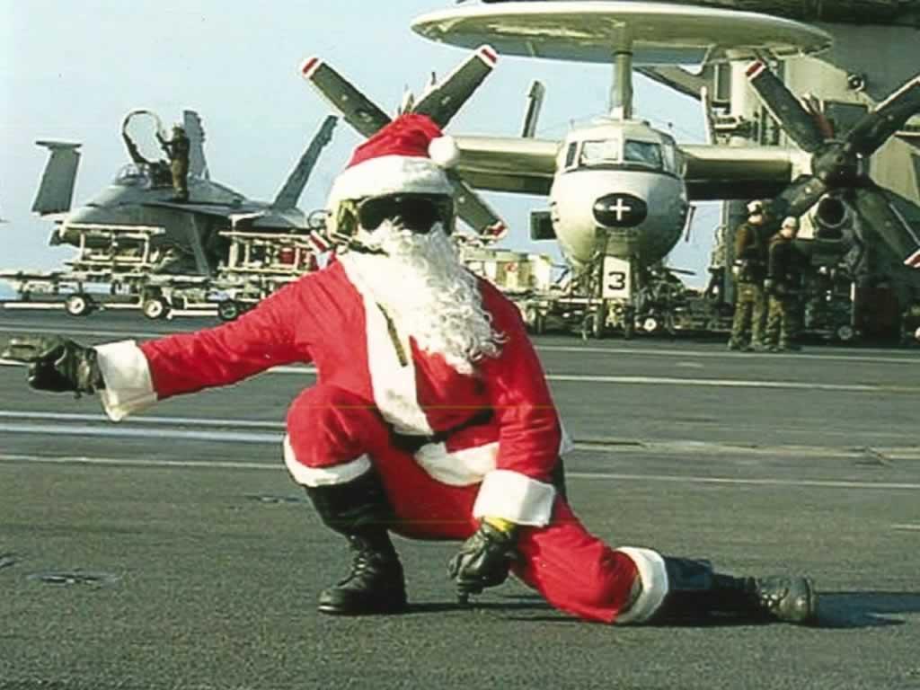 Santa On Flight Deck   Christmas Santa Wallpaper Image 1024x768