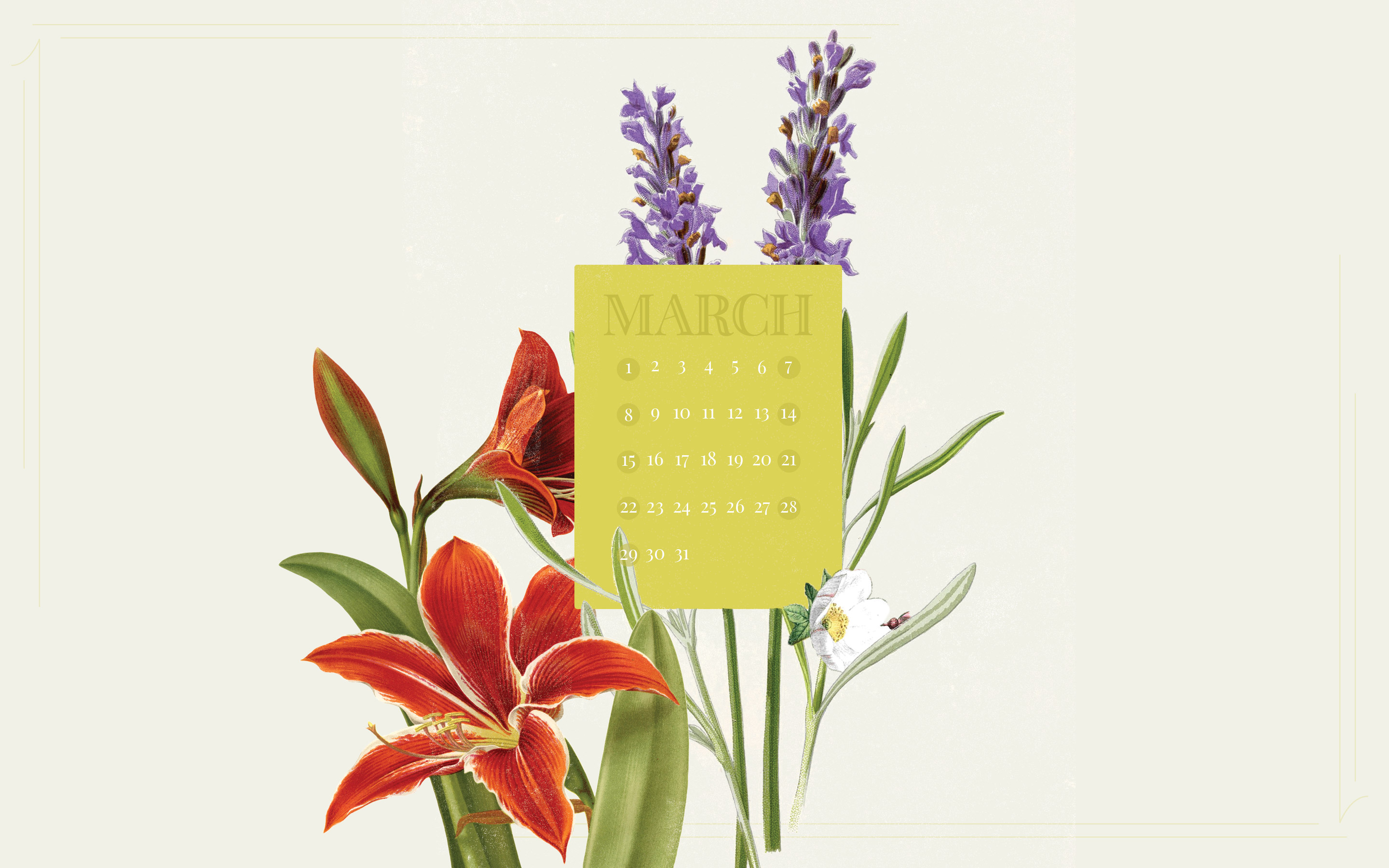 March 2015 Desktop Calendar Wallpaper Paper Leaf 2880x1800
