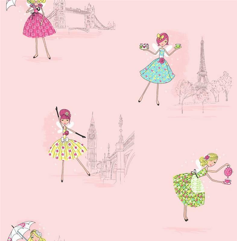 Pink   DL30712   Vintage Fairies   London Paris   Hoopla Wallpaper 786x800