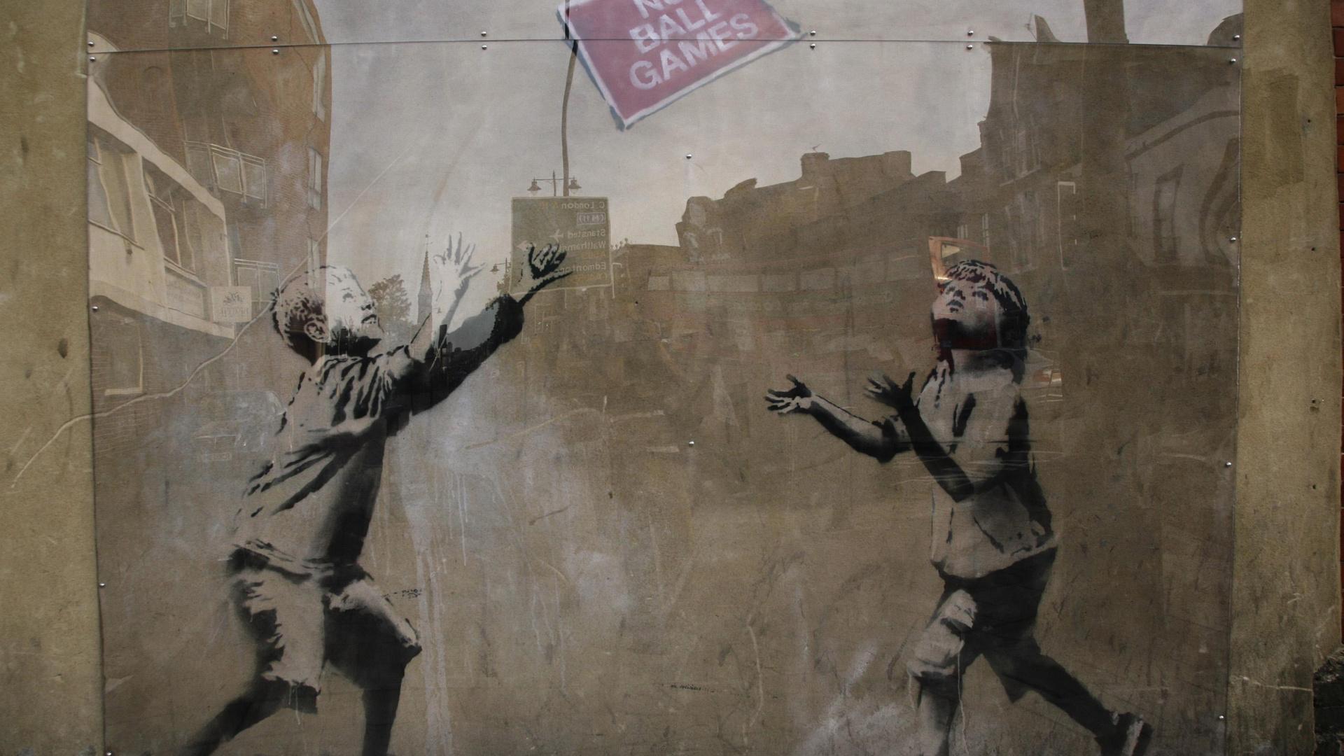 1920x1080 Banksy Street Art Graffiti No Ball Games