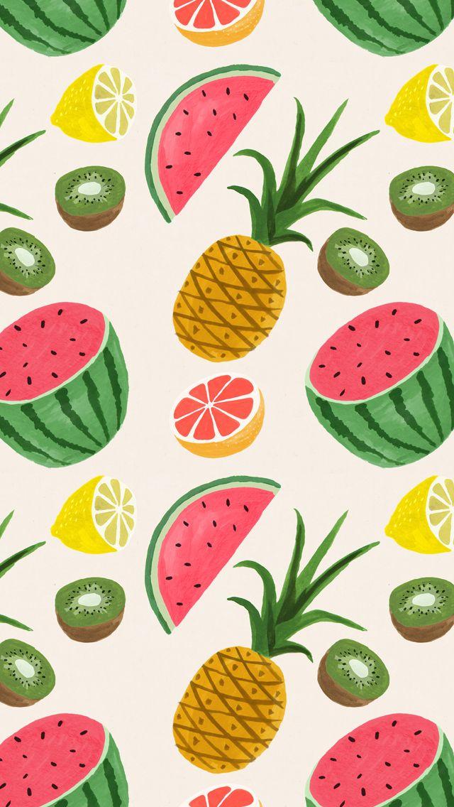 summer fruit print trend Fruit wallpaper Pattern wallpaper 640x1136