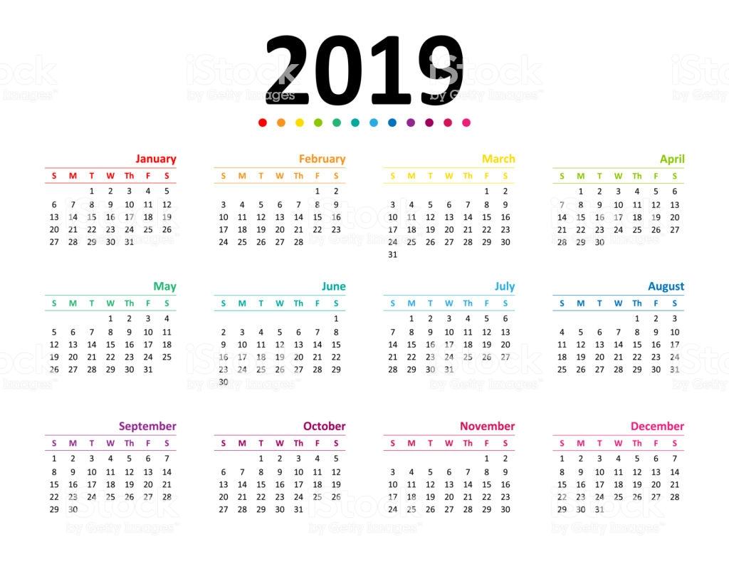Year 2019 Calendar Wallpaper Stock Vector Art More Images of 1024x820