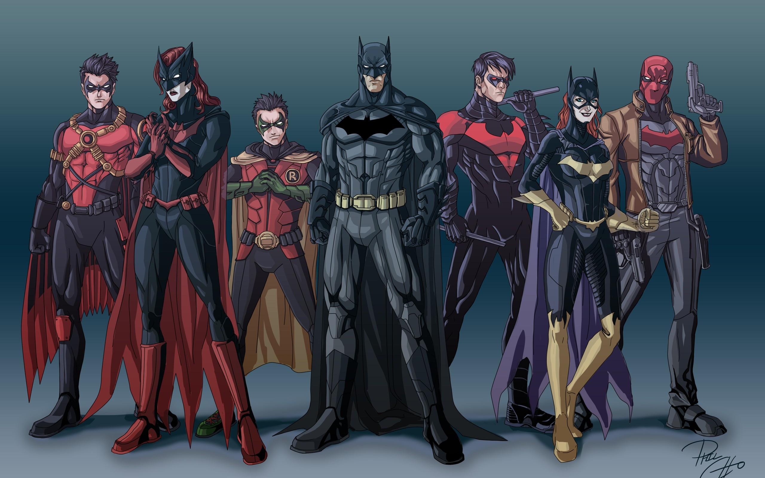dc comics batman robin batwoman justice league nightwing red hood red 2560x1600