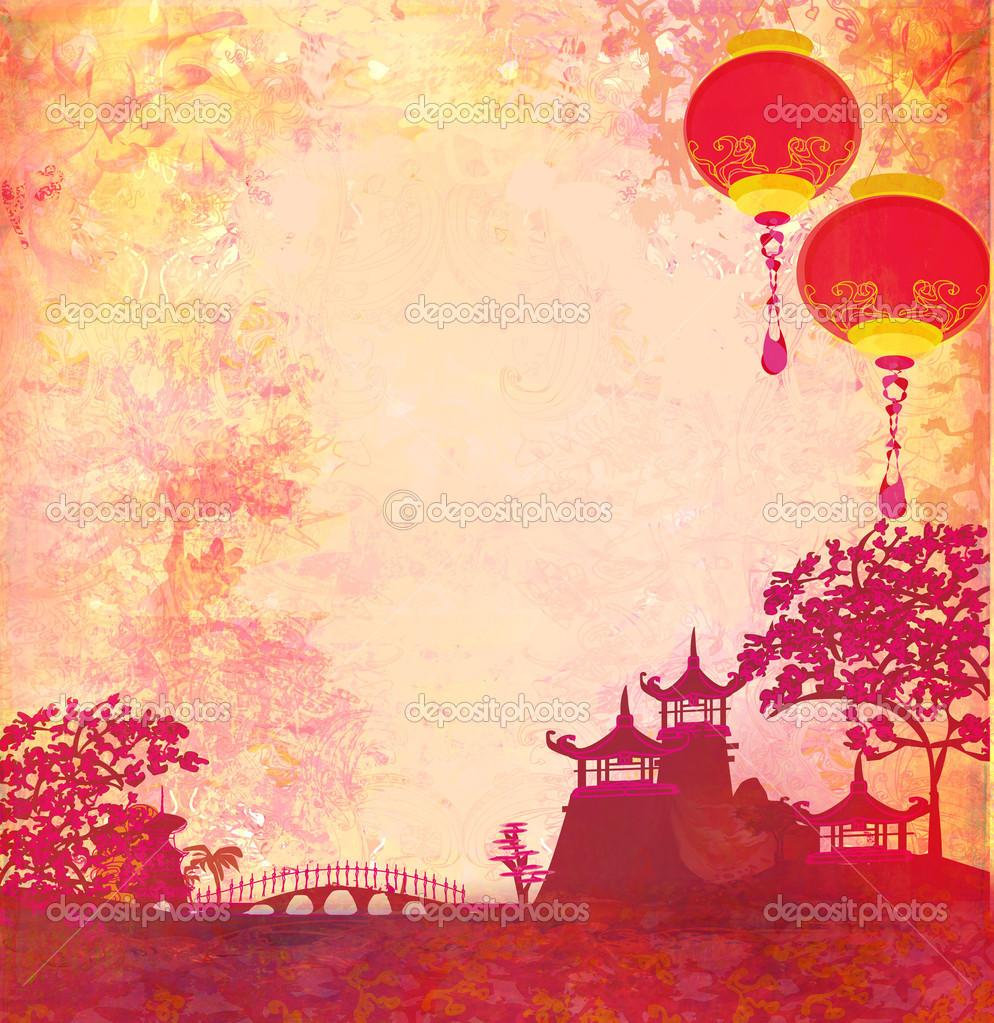 and Chinese Lanterns   vintage japanese style background  rasterjpg 994x1023