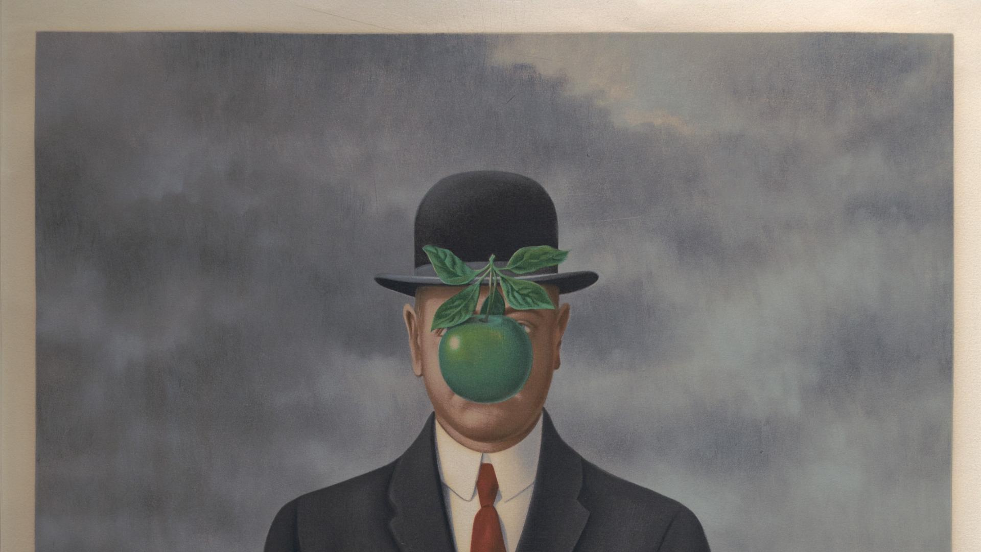 Paintings rene magritte son of man wallpaper 38617 1920x1080