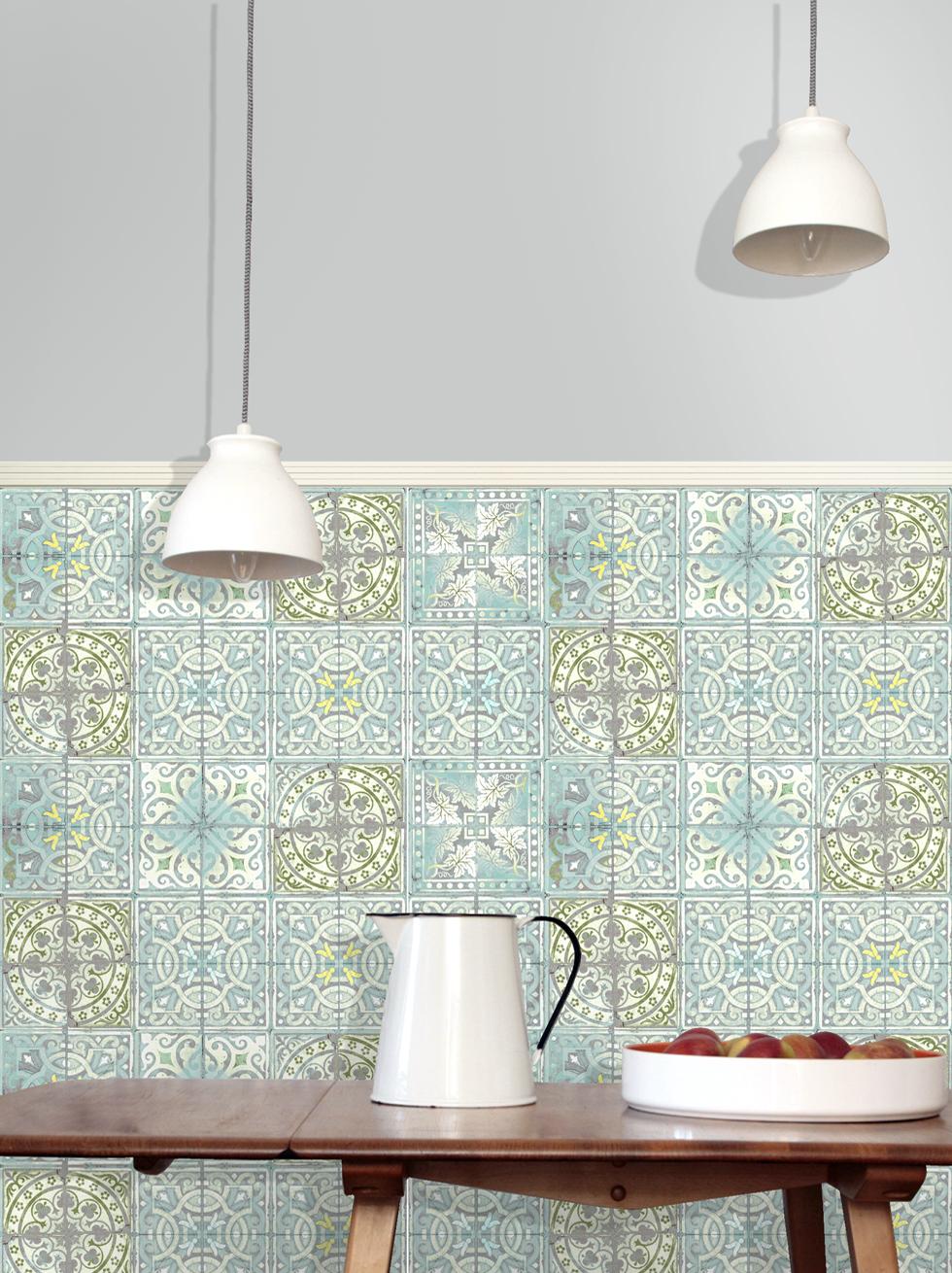 Home Shop Wallpaper Paper Tiles Patchwork Jade 980x1310