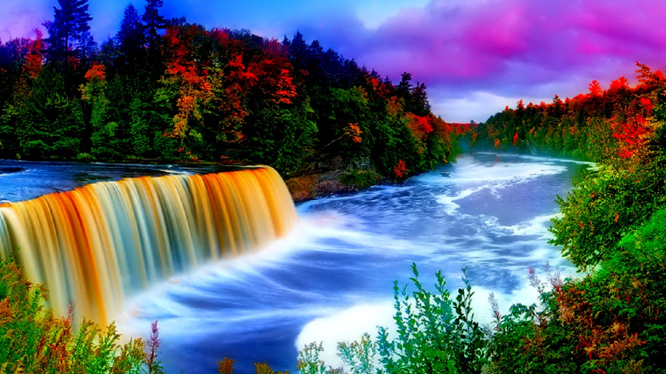 Rainbow Waterfall Computer Wallpapers Desktop Backgrounds 1366x768 1366x768