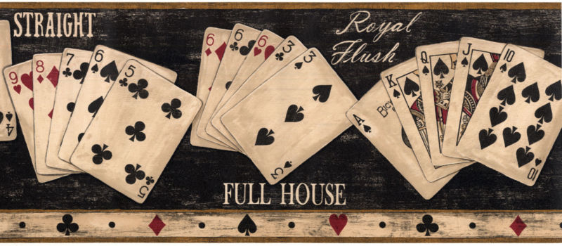 Playing Room Game Rustic Full House Men Black Wallpaper Wall Border 800x350