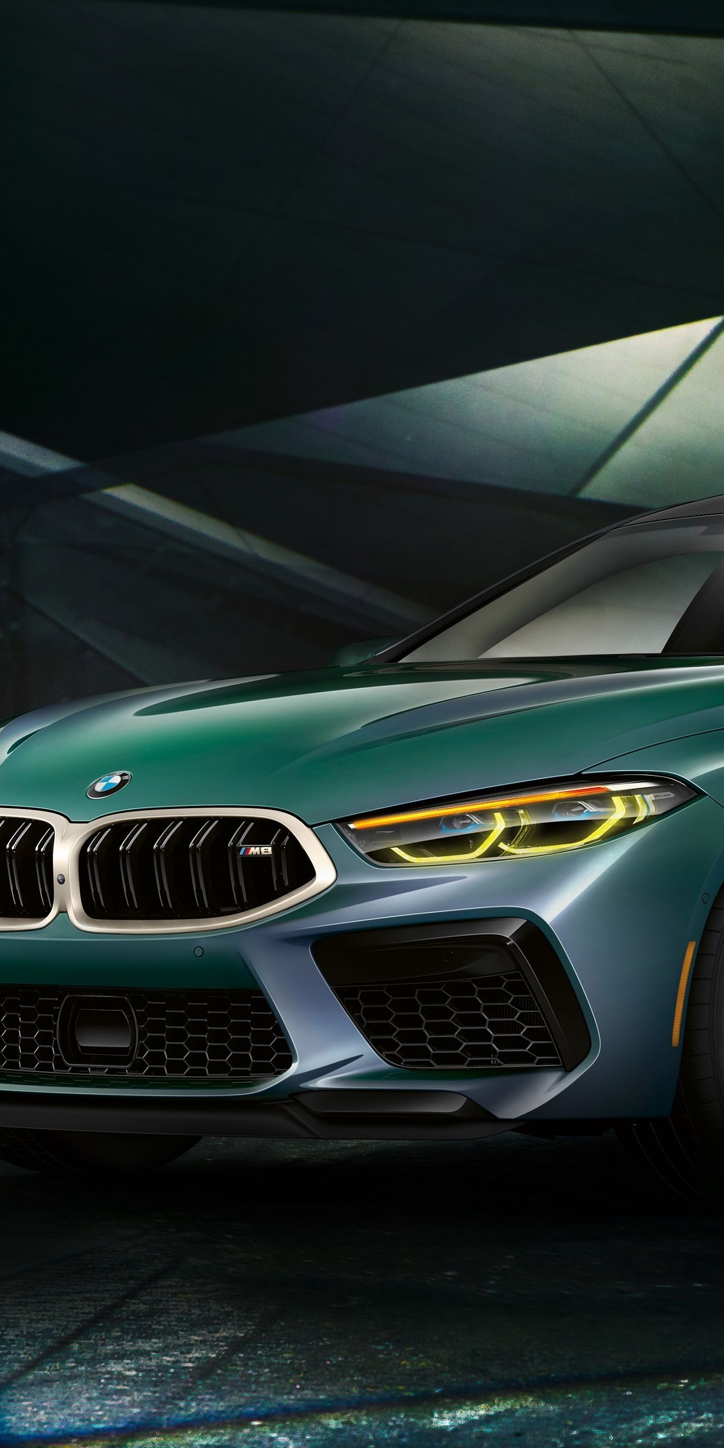 1440x2880 2020 car BMW M8 Gran Coupe First Edition green car 1440x2880
