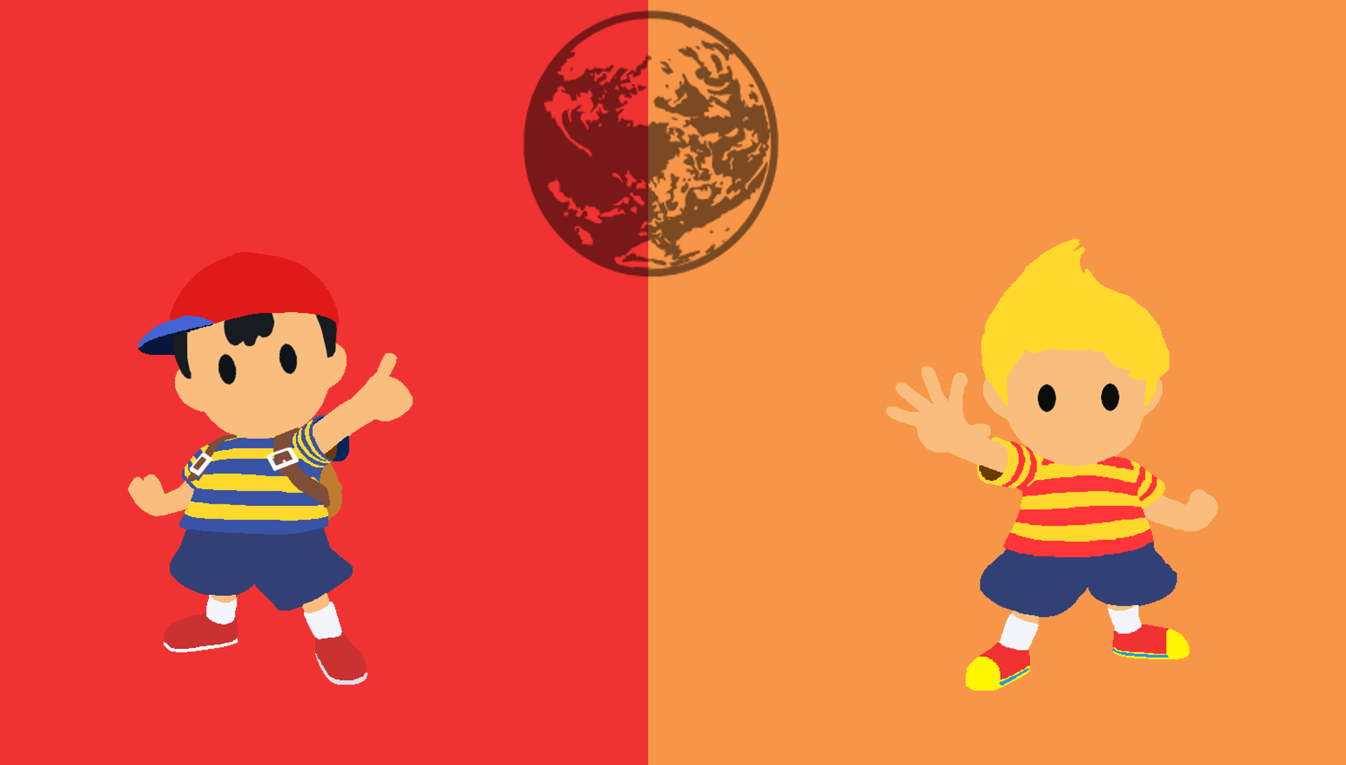 Ness and Lucas Minimalistic Wallpaper by MI6zombieguy92 1900x1080