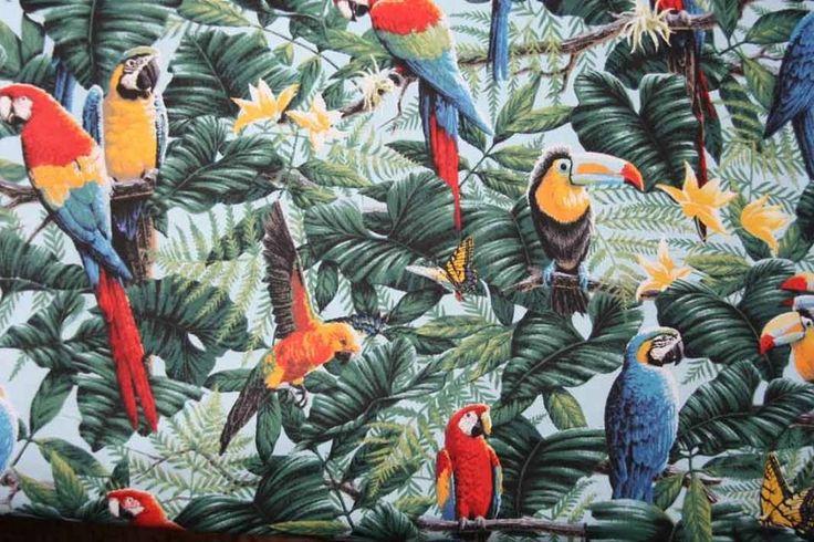tropical fabric wallpaper print bird more ideas tropicalstyles print 736x490