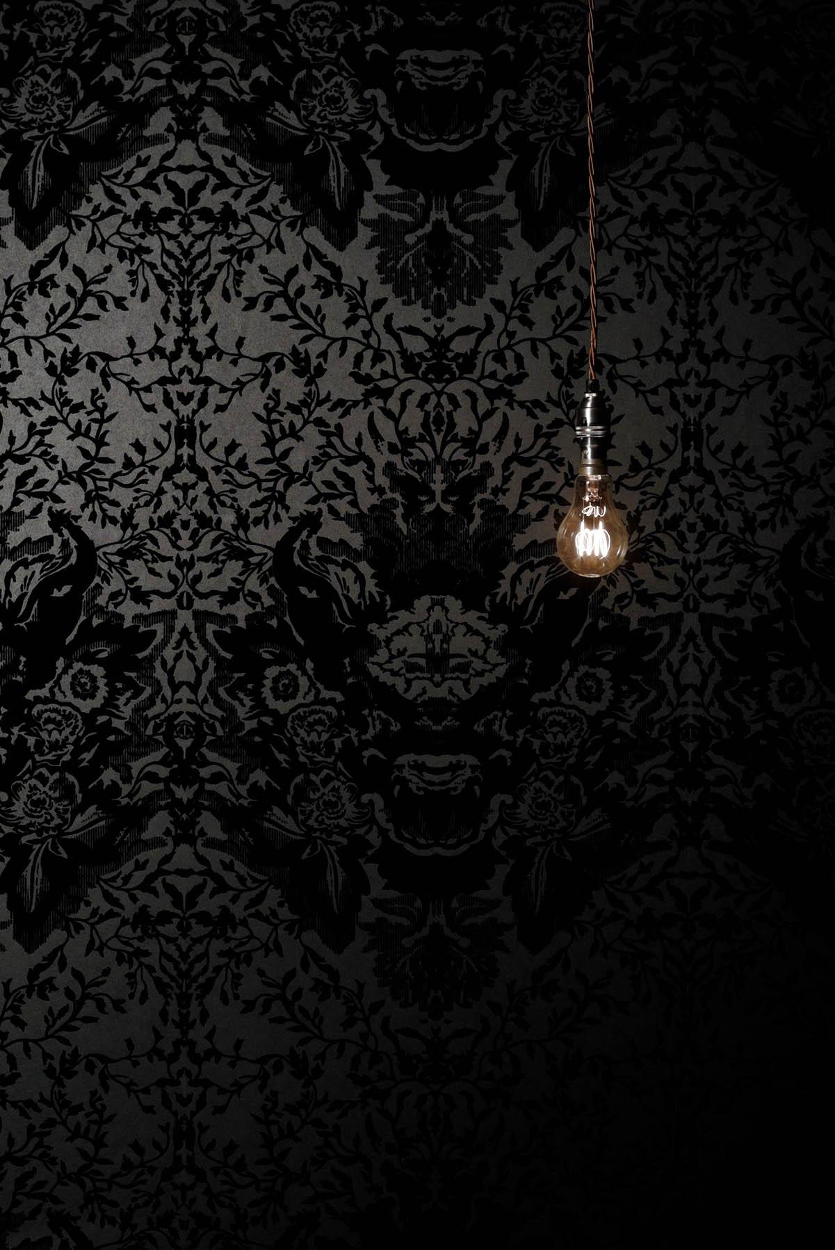 Black and white flocked wallpaper wallpapersafari for Flock wallpaper