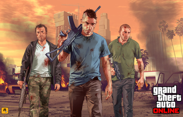 Wallpaper grand theft auto 5 gta online soldiers city team 596x380