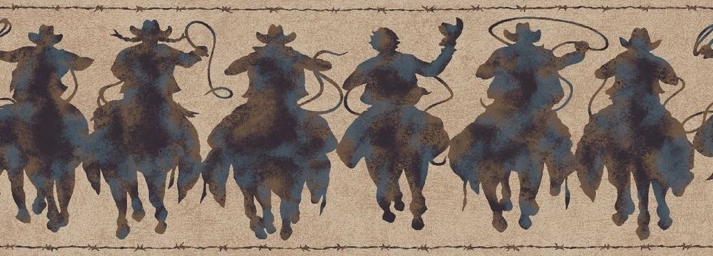 Western Rodeo Cowboy Patina Silhouette Riders Wallpaper Border 1000x360